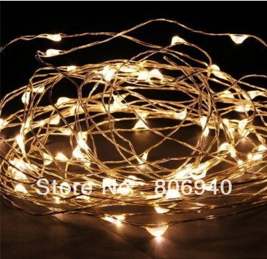 Starry Silver Wire LED Lights 33ft LED String Light 100LED Ultra Thin Copper String with Power Adapter(Warm white)(China (Mainland))