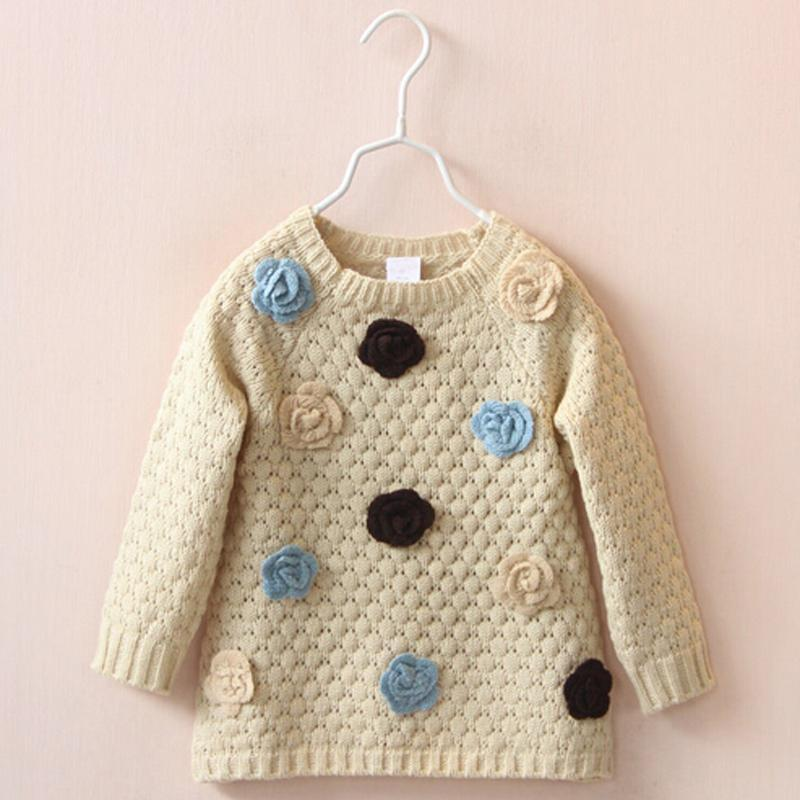 New Style Girls Sweater Coat Child Sweaters Long-Sleeve Sweet Knitwear Girl Pullover
