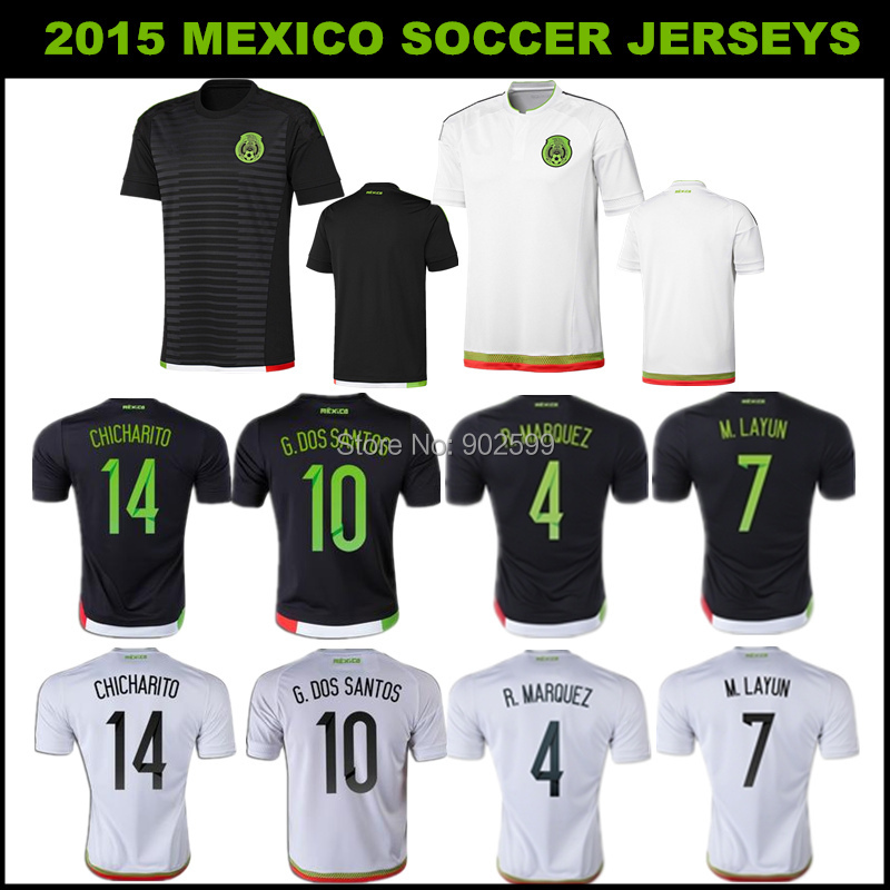 2015 Mexico white/black R.MARQUEZ CHICHARITO O.PERALTA G.DOS SANTOS M.LAYUN best quality soccer jersey(China (Mainland))