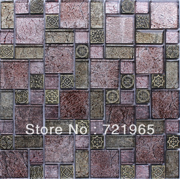 Purple glass mosaic tile backsplash glass mosaic kitchen wall tiles RNMT012 3D resin mosaic tile free shipping