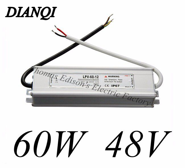 waterproof power supply 60w 48v power suply AC90-250V TO 48V DC 1.25A LED Waterproof Light Power adapter supply(China (Mainland))