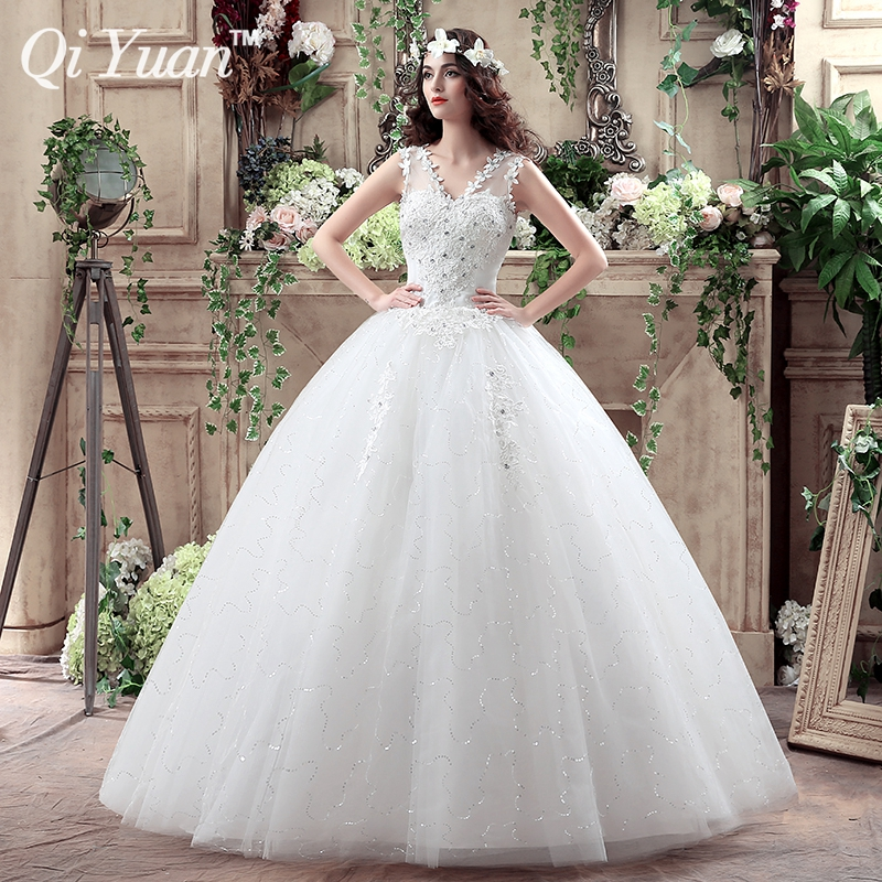 2016 Summer Fashionable V neck Cheap Wedding Dress With Crystal Plus Size Bridal Gowns Lace Up