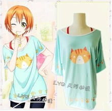Rin Hoshizora Cosplay Costumes Anime Love Live! Free Shipping (T-Shirt + Red Sun-top)