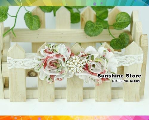 baby girls vintage headband shabby chic hair bows;jewelry rosset ,bow diamond/pearl flowers accessories #2B2266  10 pcs/lot