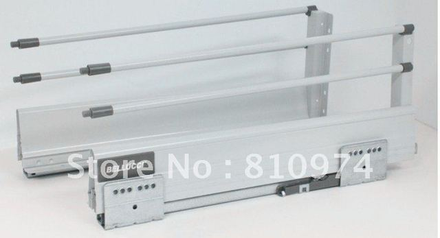 FREE SHIPPING 6 set Double Steel Wall Soft Close Drawer Slide 18-inch With Two Poles