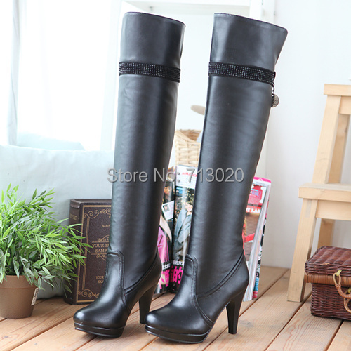 Women boots 2014 autumn winter ladies fashion high heels boots shoes woman thigh boots female over the knee high leg long boots