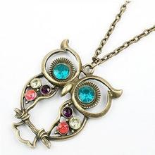 Owl Necklace Long Sweater Chain Rhinestone Crystal Cubic Zirconia Pendant Charm Women Girls Fashion Jewelry Accessory (China (Mainland))