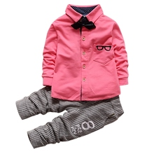 Мальчик Наряды Ткань Набор С Длинным Рукавом Очки Печатный Топы Рубашка с Галстуком + Полосатые Брюки(China (Mainland))