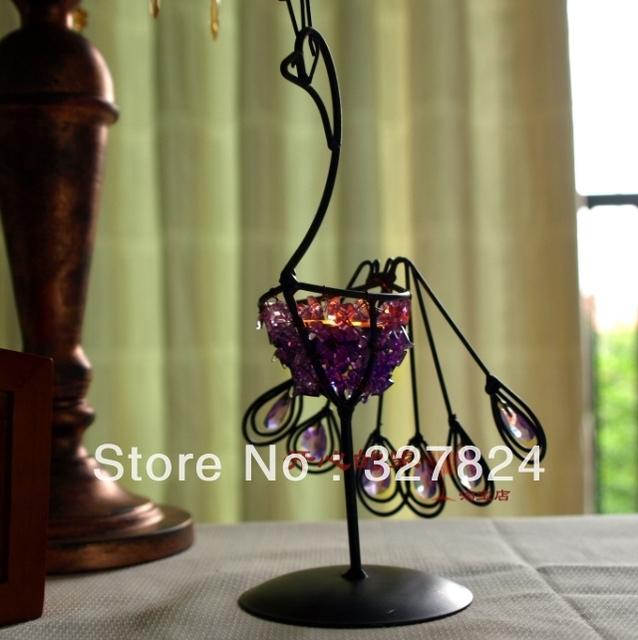 free shipping cheap Handmade Peacock shape Candlestick height 25cm three colors wedding decoration birthday party decorations