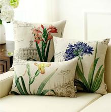 Pastoral Bird & Flower Cotton Linen Cushion Cover Throw Pillow