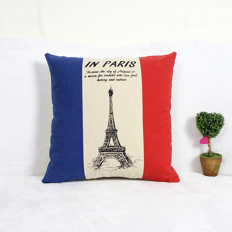 Cushion Cover Linen European Style Vintage Funda De Cojin Pillow Case Hot Sale Car Covers Cheap Cushion Covers Iron Tower(China (Mainland))