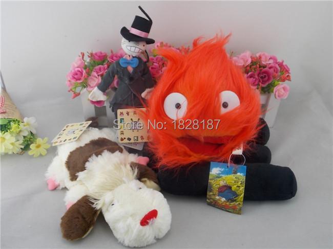 Howl s Moving Castle Hin Hin Dog Kakashi no Kabu Calcifer Fire Plush Toy 3PCS By Sun Arrow(China (Mainland))