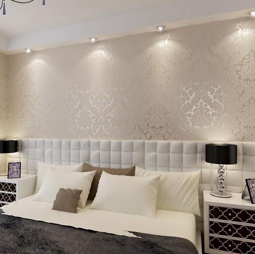 Luxury vintage europea damasco papel de empapelar del pvc for Decoracion hogar la plata
