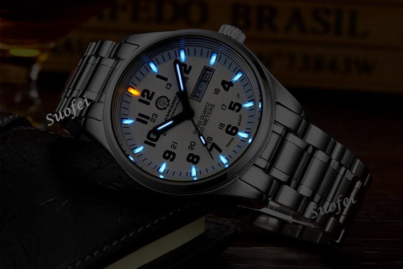 2016 New Carnival Tritium Light Watch Quartz Double calendar Date Tritium Luminous Waterproof Military diving Watches full steel