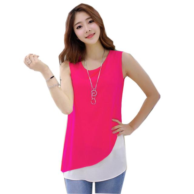 2015 летний стиль женщины без рукавов блузка конфеты цвет лоскутное два слоя blusas ...