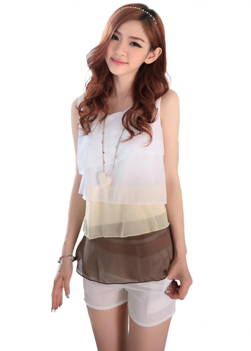 Fashion Women's Ladies Chiffon Tops Tank Tops Ruffles Sleeveless Summer Vest for Gift