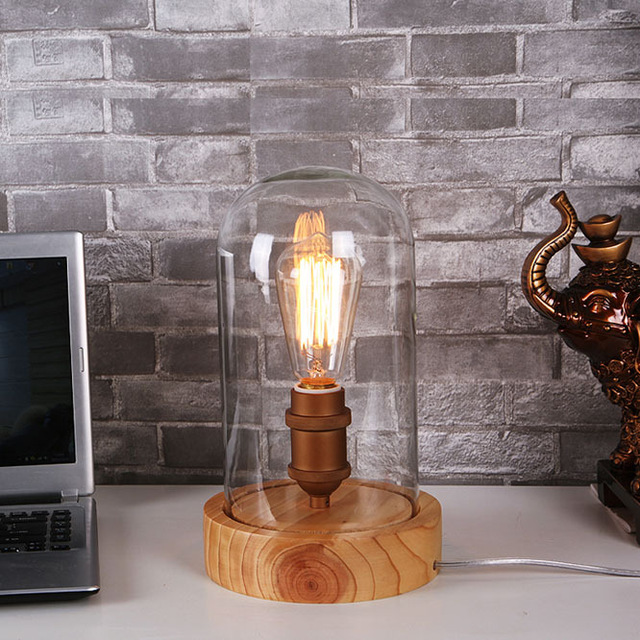 Art Deco wooden Desk lamps clear glass lampshade E27 base bulb 40W table lights wood light reading lamps free shipping<br><br>Aliexpress
