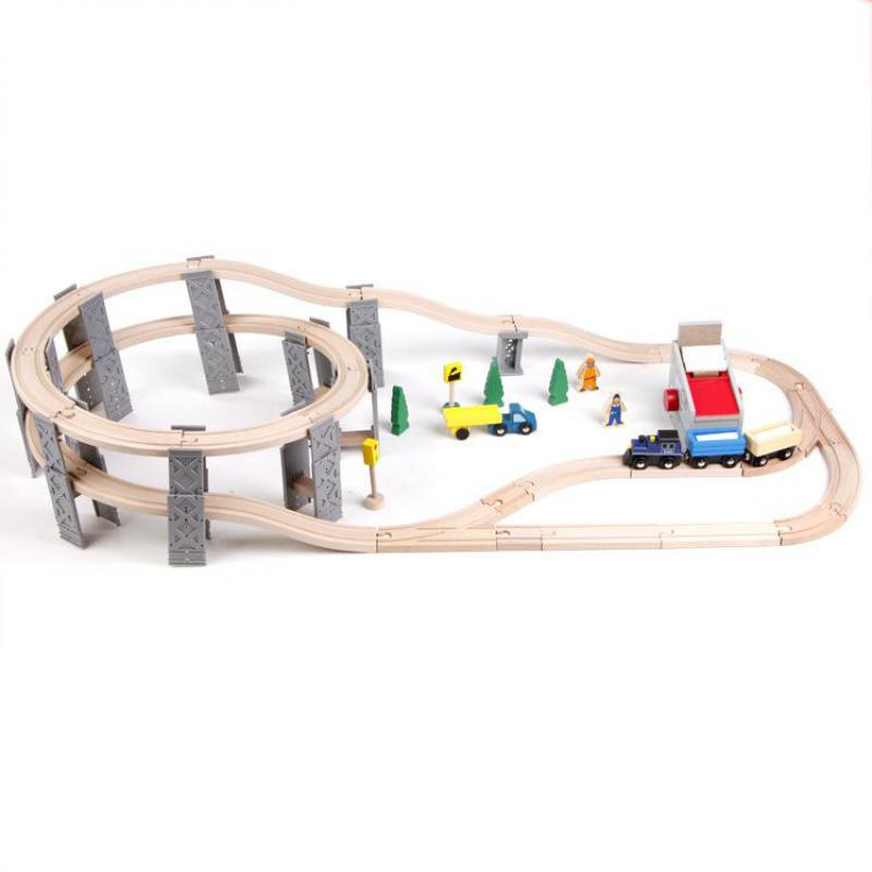 Diecasts Toy Vehicles Kids Toys train Toy Model Cars wooden puzzle Building slot track Rail transit Parking Garage 55 pcs(China (Mainland))