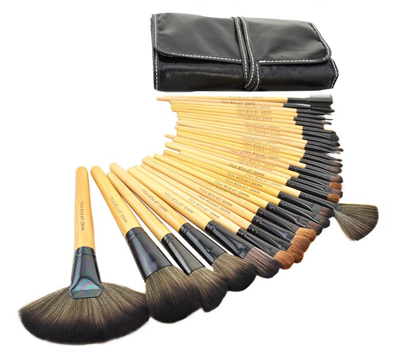 50set/lot Wholesale 32pcs Makeup Brushes Professional 32 Pcs Makeup Brush Set Brand Make Up Cosmetics With Black Pouch Bag Case