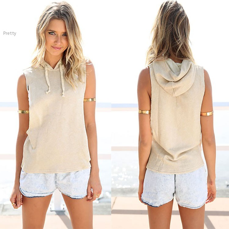 Summer Style 2015 Women Hooded T Shirt Fashion Drawstring Solid Sleeveless Side Slit Hoodie Tops
