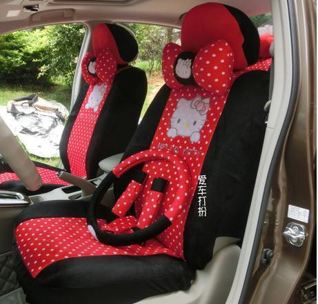 2015 18pcs Black Red Round Dot Hello Kitty Cartoon Auto Car Full Set car seat Cover five seats car Model seat covers(China (Mainland))
