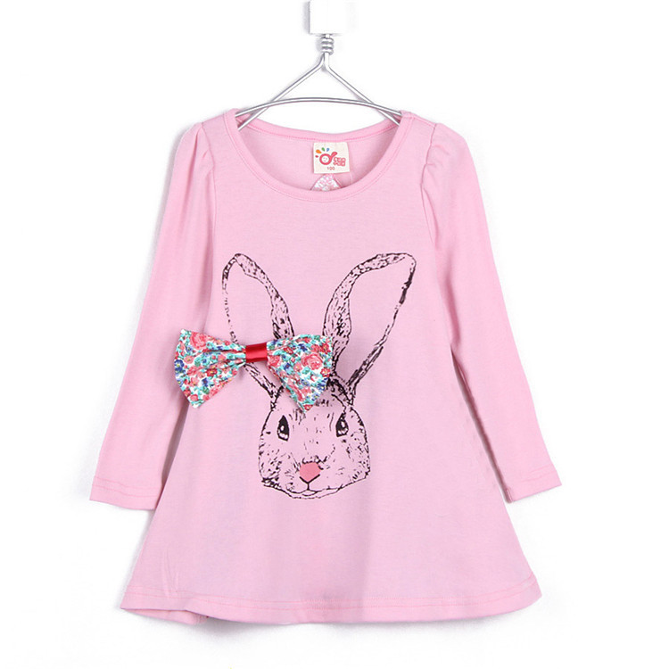 2015 hot sale autumn and winter cute rabbit girls clothing baby child long-sleeve T-shirt dress clothes one-piece dress A0043(China (Mainland))