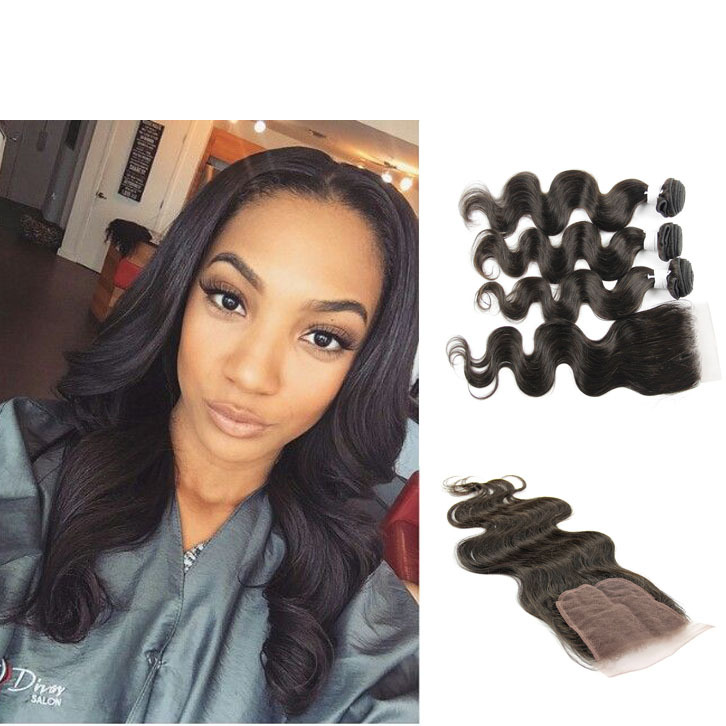 Grade 8a Malaysian Virgin Hair With Closure 4 Bundles With Closure Hot Sale Cheap Malaysian Body Wav