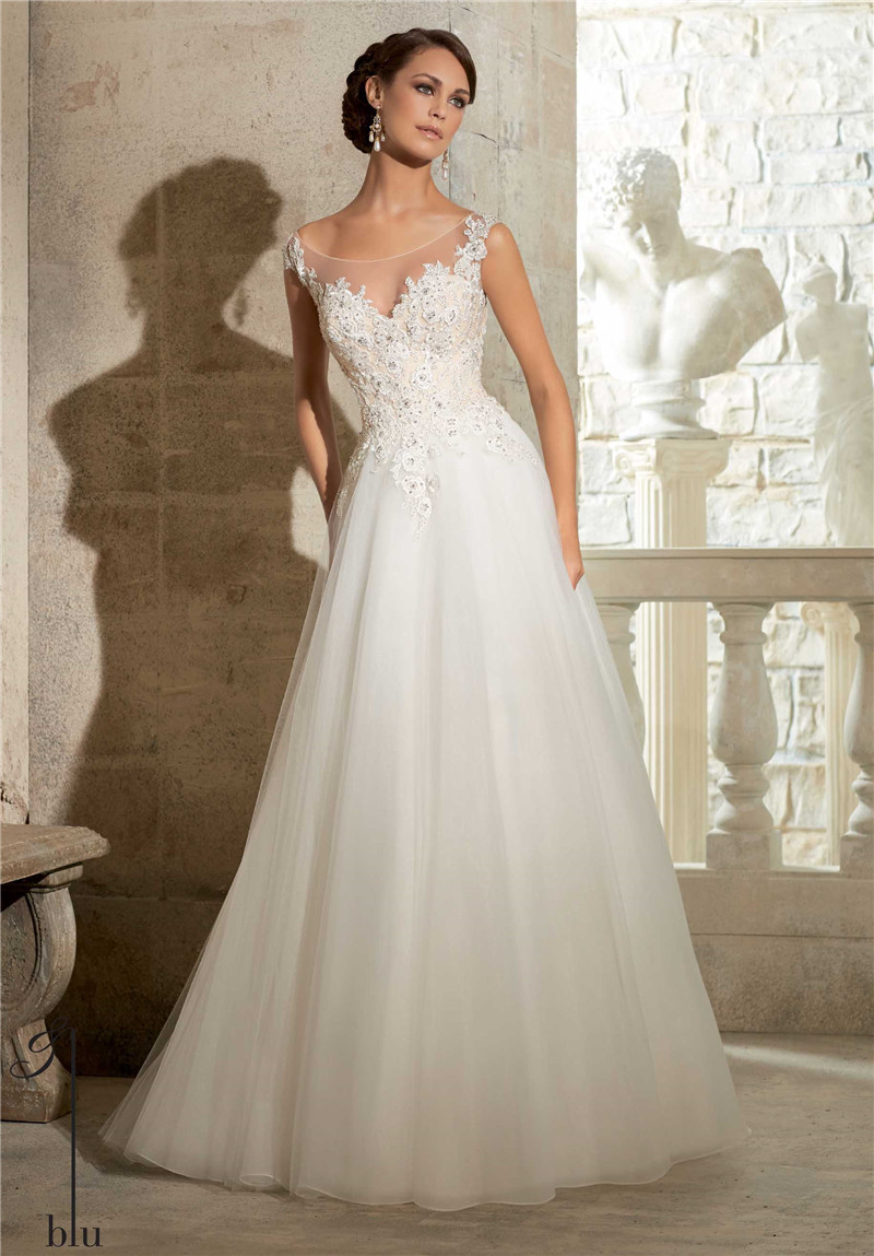 2015 A Line Wedding Dress Spaghetti Straps Scalloped Sleeveless Appliqued Lace Bridal Gowns Vestido De Noiva Nova Bridal PB87(China (Mainland))