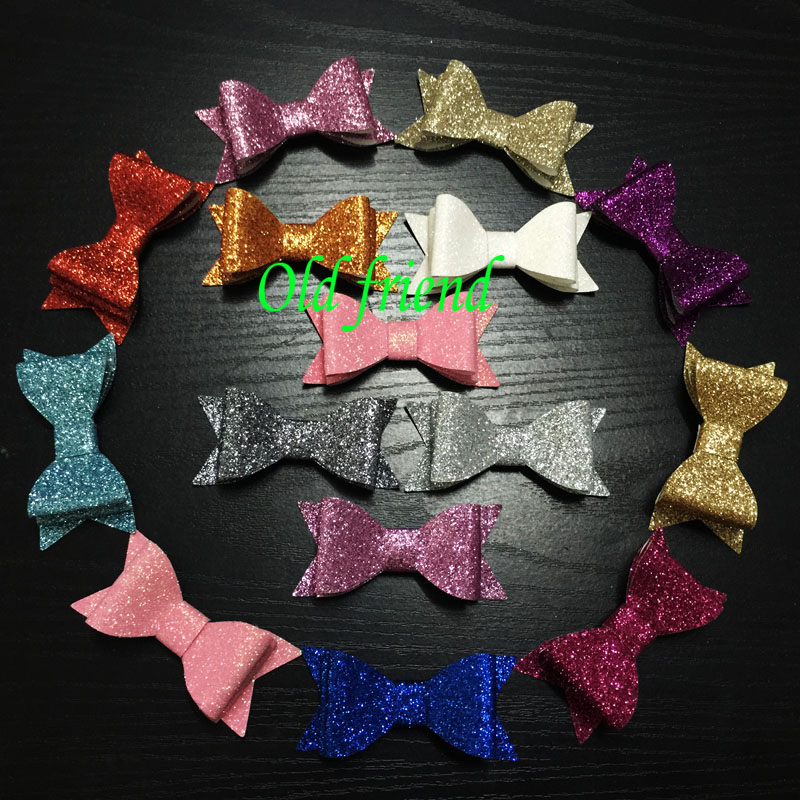 Cute Double Layer Baby Hair Glitter leather Bows With Clips , Kid's Bows Hair Clips,Baby Hair Grips 24pcs/Lot Free shipping(China (Mainland))