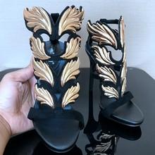 Thương hiệu Giày Phụ Nữ Ngọn Lá Cao Gót Zapatos Mujer Womens Platform Máy Bơm Phụ Nữ Dép Mùa Hè Đám Cưới Bên Giày Peep Toe(China)