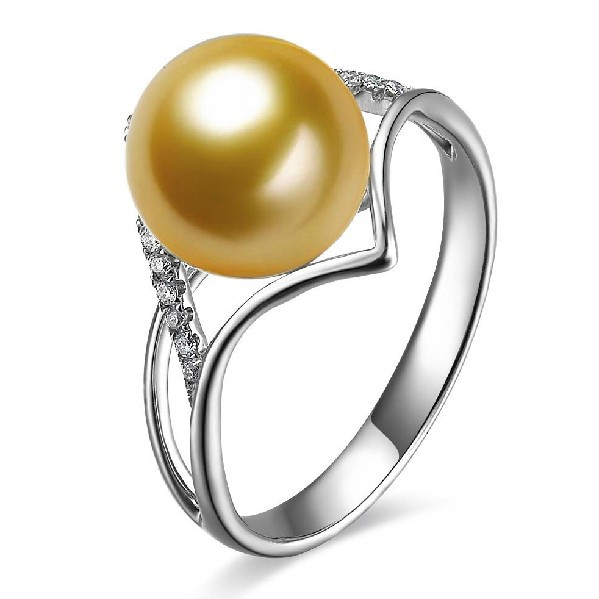 9-10mm Natural South Sea Gold Pearl Ring GVBORI Luxury 18K Gold Diamond Pearl Ring For Women Wedding/Womens Day Gift<br><br>Aliexpress