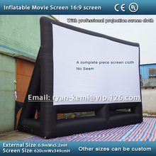 Free shipping 16:9 inflatable movie screen inflatable projection screen inflatable film screen 6.2m professional screen cloth(China (Mainland))