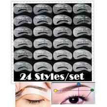 24pcs/lot Eyebrow Stencils 24 Styles Reusable Eyebrow Drawing Guide Card Brow Template DIY Make Up Tools Wholesales
