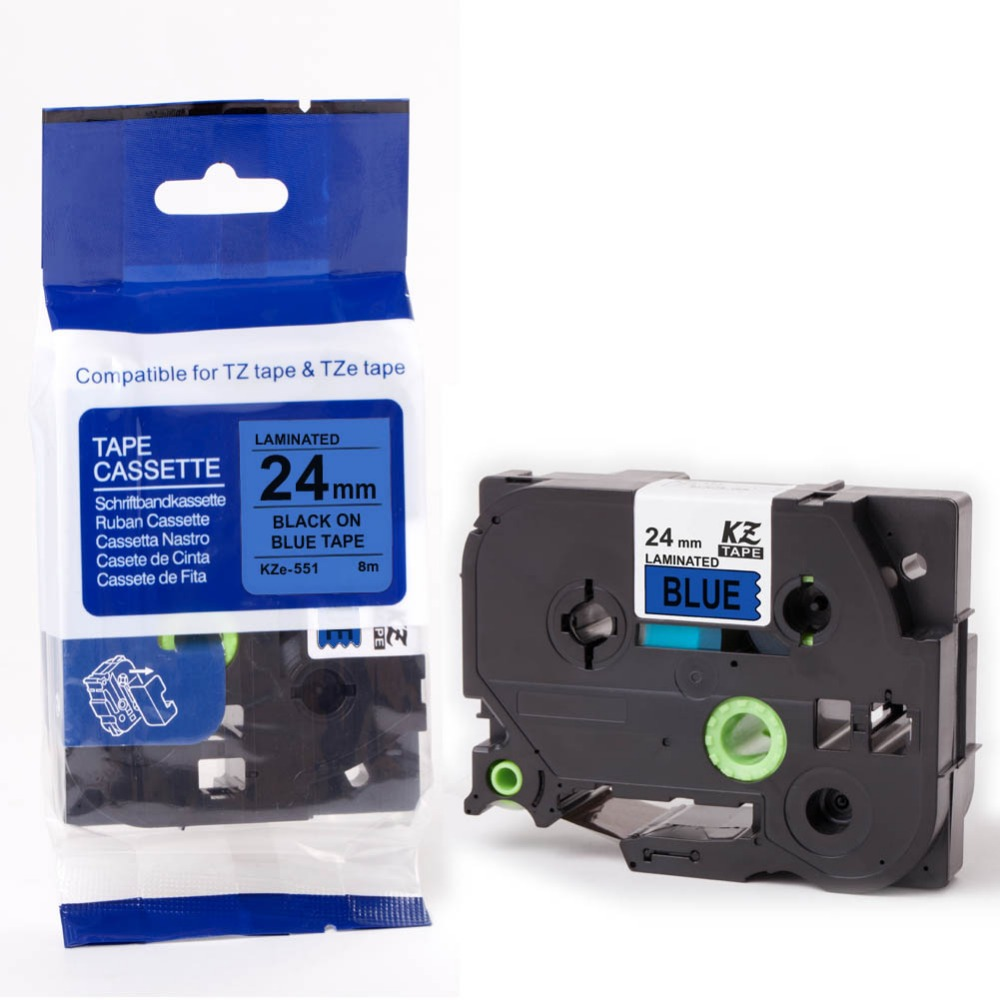 30pcs TZ551 TZe551 black blue 24mm x 8m compatible Brother ptouch printers
