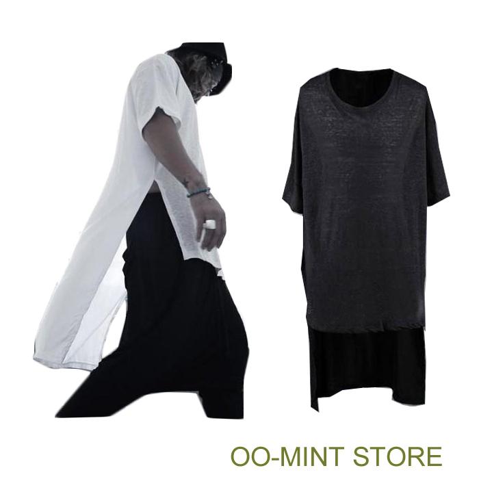 Long Style High Quality New Brand Design Fashion Tyga Man Hiphop Hip Hop Tshirt Top Tees T-shirt Men Side Split Black/White(China (Mainland))
