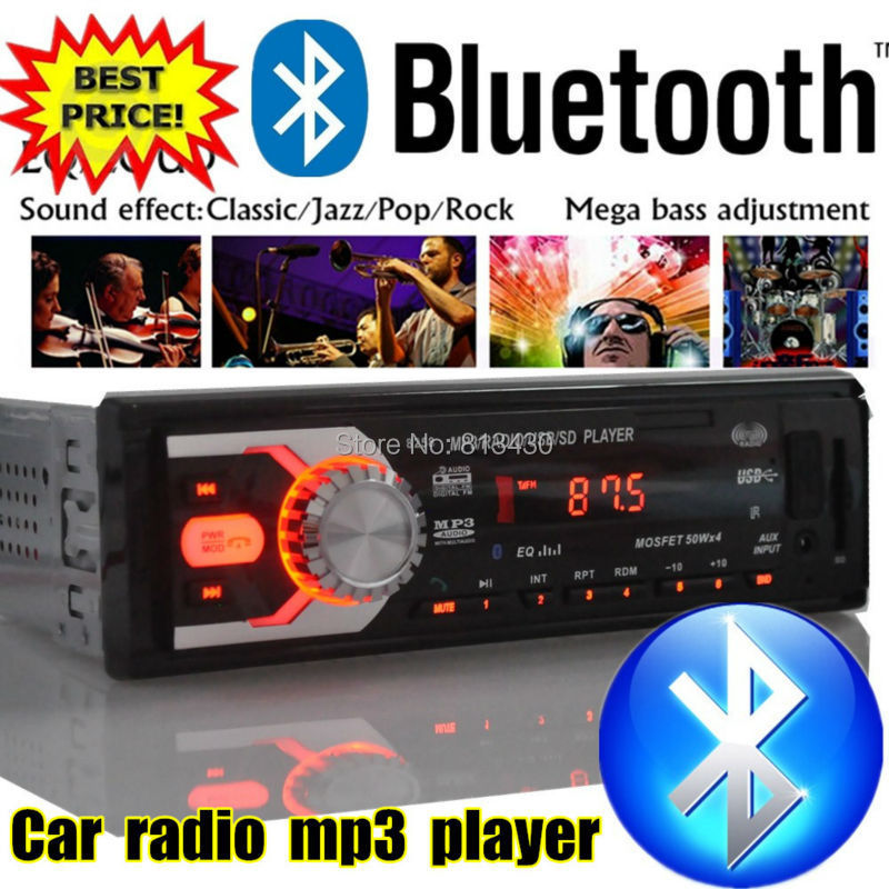 2015 New bluetooth car radio car stereo 12V mp3 player car audio Support Bluetooth/SD Card/USB Port/AUX IN/PHONE/1 Din in dash(China (Mainland))