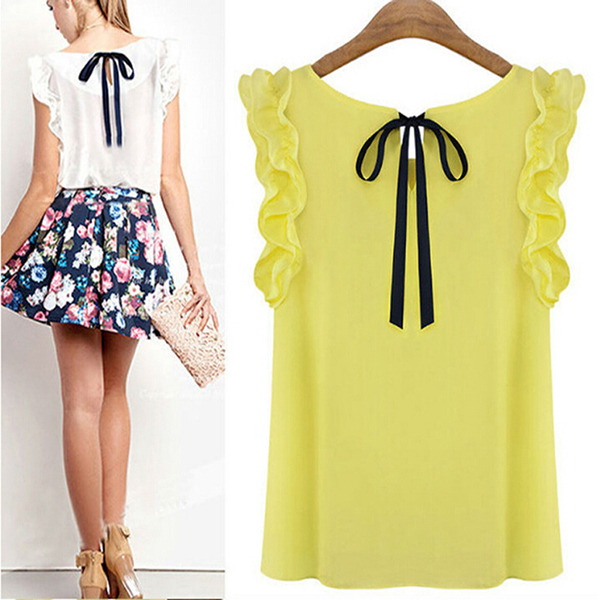 Casual Clothes for Cute Women Lace Bow Chiffon Blouse Shirt Female Summer Tops Lotus Leaf Sleeve Shirts 2015 New Fashion(China (Mainland))