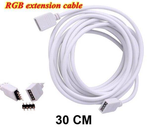 30CM long RGB extension cable wire, 4 pin female connector, for RGB LED strip 10mm PCB, 50 pcs/lot,Wholesale(China (Mainland))