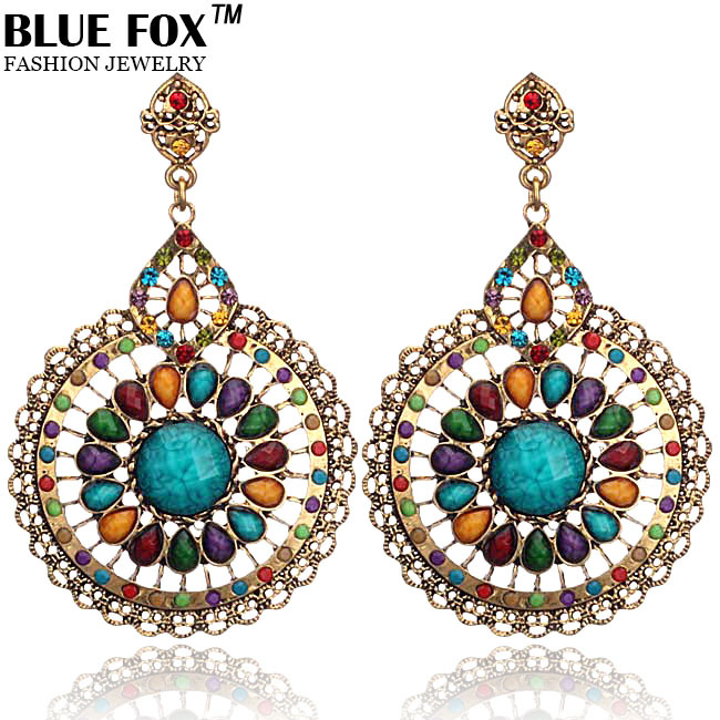 Hot big promotion 2014 Luxury High-quality Alloy earring Fashion personality Hollow Round Drop Earrings E-007(China (Mainland))