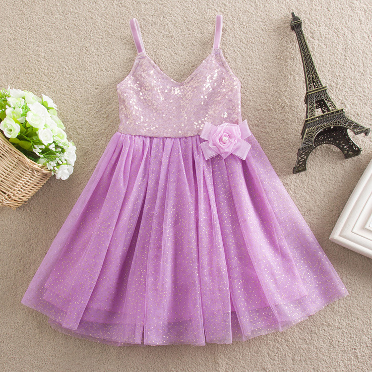 New Arrival Kids Girls Sequin Tulle Lace Dresses 2015 Baby