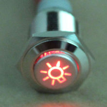 NEW 16mm Red Car Headlights Symbol 12V LED Push Button Metal ON/OFF Switch Sales(China (Mainland))