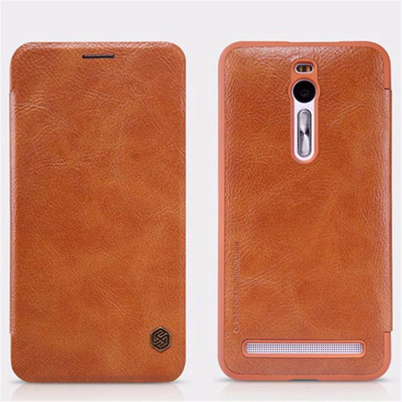 For Asus Zenfone 2 ZE551ML 5.5 phone bag case NILLKIN Qin Series Flip Wallet Genuine Leather Case For Asus Zenfon 2 Luxury Cover(China (Mainland))