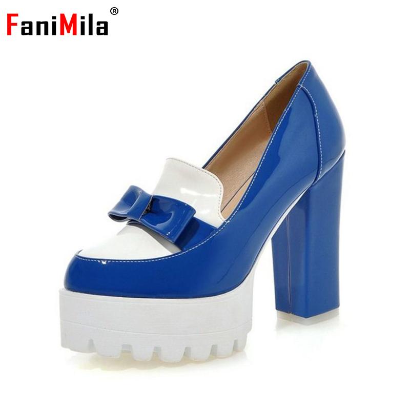 size 32-42 women bowtie bowknot ankle strap pumps platform square heel round head footwear stylish heeled shoes P23098 - Aicci Aizzi., LTD store