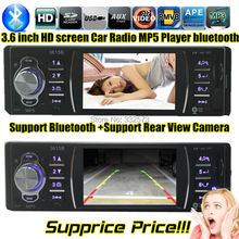 new 3.6'' inch TFT HD screen support rear view camera car radio bluetooth car audio player USB SD 1080P radio 1 din car mp5(China (Mainland))