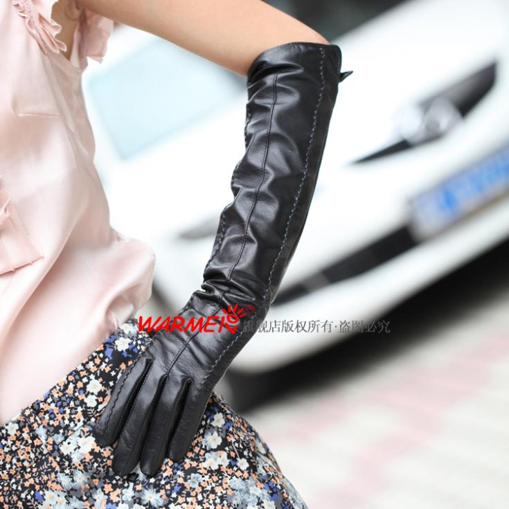 women's black Top sheepskin leather long dress gloves 1 pairs/lot(China (Mainland))