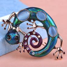 Große Blau Emaille Esmaltes Eidechse Gecko Broschen Corsage Diamante Verzierungen Kihen Wedding Broach Coroa Relogio Feminino Vaz(China (Mainland))