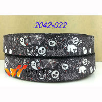 "2014 new ribbon Halloween ribbon 10 yard grosgrain ribbon 7/8""(22MM) printed  ribbon 2042-022"