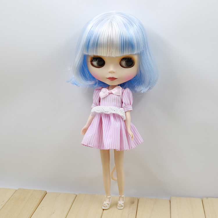 Blue and White Short Hair Blyth Nude Dolls For Girls <br><br>Aliexpress