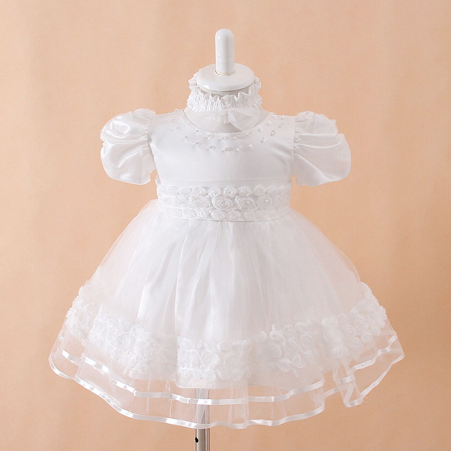 White Baby girl Christening dress Frilly and fancy baby ...
