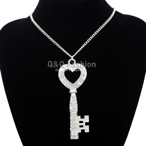 Silver Victorian Large Love Heart CZ Skeleton Key Crystal Pendant Necklace Fab Jewelry Free Shipping(China (Mainland))